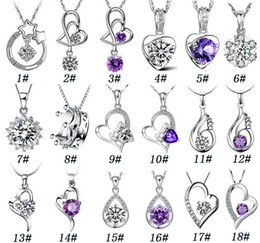 Wholesale 925 Platinum Chain - 925 Sterling Silver Pendant Necklace Fashion Charms necklaces Heart shaped Crystal pendants High quality jewelry Free Shipping