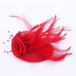 wedding hair corsage Coupons - air feather accessories 2018 Women blue feather hair accessories fascinators nice rhinestone decoration ladies wedding party Corsage Broo...