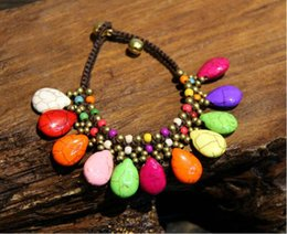 Nationalen Stil Türkis Wassertropfen Armband handgefertigt Wachs Seil Bohemia Vintage Ornament Armband Original Retro Thailand Messing Glocke von Fabrikanten