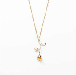 8bfd54e5ec55a Chinese FGHGF Fashion Jewelry Collier Pink Gold Statement Pendant Rose  Necklace Women s Beauty and Beast Jewelry