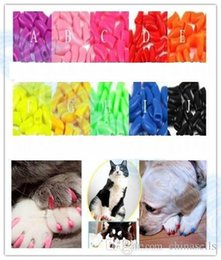 Wholesale Nail Caps Claws Cat - hot 20pcs lot Soft Pet Dog Cats Kitten Paw Claws Control Nail Caps Cover wraps catlike sets cat armor nail cap with glue
