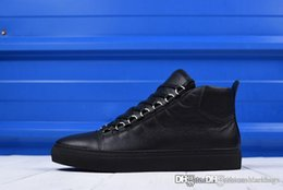 Wholesale full black slip - Top Quality 2019Balen Speed Arena Mid Sneaker High 5382745 Genuine leather Full black litchi grain with velvet Come With Original Box