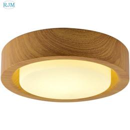 Lámpara de techo de madera redonda moderna lámpara de cristal sombra llevó la luz de techo para la sala de estar dormitorio barra de estudio accesorio de iluminación interior desde fabricantes