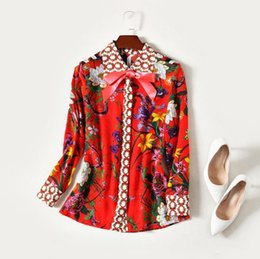 Wholesale Silk Neck Ties Xl - European and American women's wear in 2018 The new spring lapel Long sleeve bow-tie Floral print Silk shirt