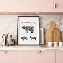 Современная каллиграфия онлайн-ome Decor Painting Каллиграфия The Butcher's Guide Плакат печатает говяжьей свинины Мясник Диаграмма Холст Живопись Кухня Art Picture Modern Res ...