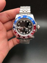 Wholesale word world - 2018 Basel World New 126710 126710BLRO Red and Blue Bicolor GMT Work Cerachrom Pottery 24Hours Scale Word Men Automatic Watch Watches