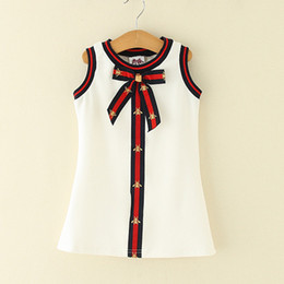 vestido de conejito rojo Rebajas Niños Niñas Vestidos Vestido a Rayas de Niña Bebé Niñas Arco Chaleco Vestido para Fiesta 2018 Princesa de Verano Vestidos Ropa de Niños D813