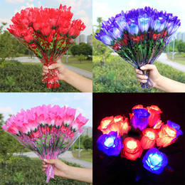 Wholesale Led Valentines Roses - LED Light Up Rose Flower Valentines Mothers Day Birthday Party Supplies Wedding Decoration Halloween Fake Flower Artificial Flowers