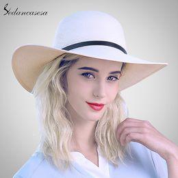 Sedancasesa Chapéus de Sol Branco para As Mulheres Panamá Chapéu De Palha  Verão Grande Brim Floppy Praia Chapéu De Largura Brim Protect Sun Férias  SW012519 73b1ddc62dd