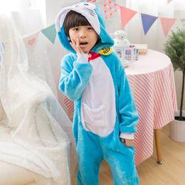 2020 kinder tier onesie pyjamas Doraemon Cat Pyjamas Kinder Unisex Pijamas Jungen Mädchen Kind Cartoon Tier Pyjama Onesie Nachtwäsche Hoodie rabatt kinder tier onesie pyjamas