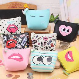 Wholesale Lip Purses - New fashion kids women lipstick cute PU coin purse organizer bag love heart emoji lip coin bag top quality