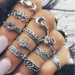 Wholesale turkish silver jewelry wholesale - 11 pcs 1 set Leaf Totem Ring Sets Silver Boho Beach retro Turkish Punk Knuckle Ring Turquoise Geometric Ring Jewelry Accessories KKA4998