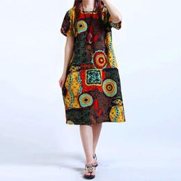 Wholesale Print Kaftan - Womens O Neck Floral Print Short Sleeve Cotton Linen Casual Knee Length Dress Baggy Boho Tunic Kaftan Plus Size