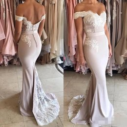 Wholesale Lace Bridemaid Gowns - Mermaid Sweetheart Bridemaid Dresses 2018 Off Shoulder Floor length Wedding Bride Party Dresses Pluse Size Lace Bridesmaid Party Gown MM96
