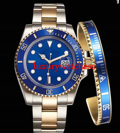 Wholesale Top Brand Divers Watches - Top AAA Luxury Brand Gold Watch Black Ceramic Bezel Mens Automatic Movement Watch Sports Self-wind Watches Roless Wristwatch Relogio