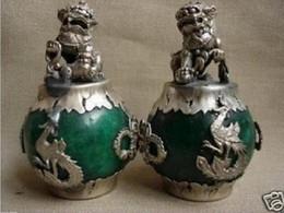 Leones de bronce online-Un par PAR CHINO DEL Tíbet DRAGÓN DE PLATA Verde JADE Foo dog ESTATUA León 2pcs Jardín Decoración LATÓN