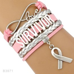 Love Faith Believe Hope Ruban Prier pour le cancer du sein Sucks Awareness Fighter Survivor Pink Leather Wrap Bracelets pour les femmes ? partir de fabricateur