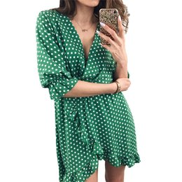 b5ff6706faf Polka Dot Print Boho Dress Women 2018 Летний повседневный стиль Deep V Neck  Ruffles Wrap Robe Beach Party Vestidos