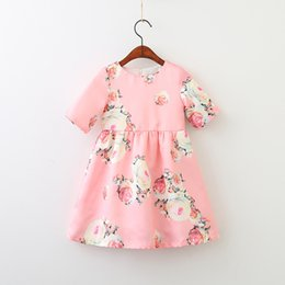Wholesale Half Clothing - Baby girls Floral dress Children Flower print princess dresses 2018 new Boutique Kids Clothing 2 colors C3597