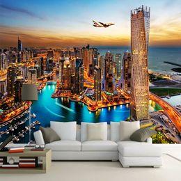 Nacht stadt fotos online-Dubai City Night Wandbild Tapete Benutzerdefinierte Wandmalerei Papel Pintado Wohnzimmer TV Hintergrund Fotowand Papierrollen 3D