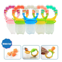 Wholesale infants feeding - Baby Silicone Toddle Feeding Infant Pacifier Soother Kids Dummy Fresh Fruit Food Feeder Bite Nipple 5 Colors AAA133