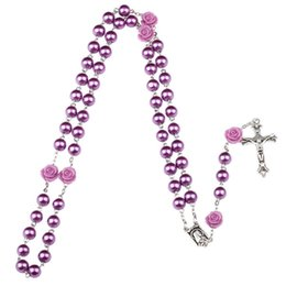 Wholesale Drop Charms - Purple black pink Rosary Beads Catholic Rosary Necklace For Girls Women Glass Father Bead Crucifix Pendant Rose halloween drop ship 162669