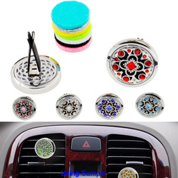 Wholesale felt gifts - Novelty Colourful Crystal Aromatherapy Home Car Essential Oil Diffuser Locket Clip with 6PCS Free Washable Felt Pads