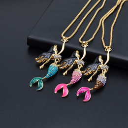 Wholesale Inlay Pendant - women's fashion cute fairytale enamel mermaid pendant diamond inlay clavicle chain gold plated necklace for party jewelry gift