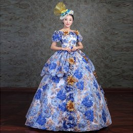 Wholesale Civil War Gowns - Marie Antoinette Dress Royal Blue Floral Embroidery Medieval Civil War Southern Belle Ball Gowns 2018 Women Dress Reenactment Clothing F276