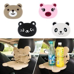 Wholesale Table Seating Holders - Panda Foldable Auto Dining Table Car Back Seat Folding Tray Cup Holder Animal Pig Cat Bear Food Drink Desk OOA4267