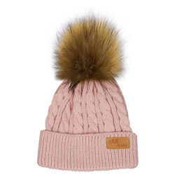 Wholesale football beanie baby - Fashion Children Winter Hat Knied Crochet Beanies Cap Pompom Hats Thick Baby Skullies Baby Girl Winter Warm Hats Bonnet Enfant