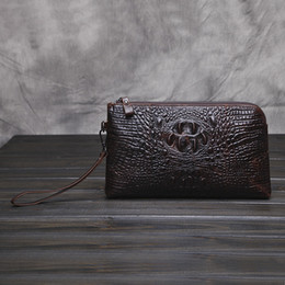 Wholesale Top Hand Tattoos - New man hand bag top long wallet large capacity crocodile tattoo leather Holders Wallets deep brown leather credit card bag