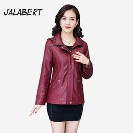Wholesale Slim Large Lapel Coat - Chaquetas De Cuero Mujer Special Offer 2017 New Women Leather Coats Mom Female Slim Large Size False Pocket Zipper Lapel Jacket