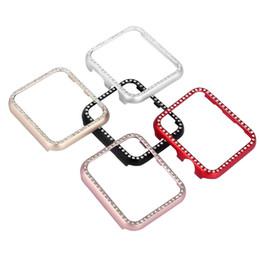 Argentina 5 caja del reloj del diamante del color para la venda del reloj de Apple 42mm / 38mm IWATCH 3/2/1 Marco de la aleación de aluminio cubierta protectora de cristal Suministro