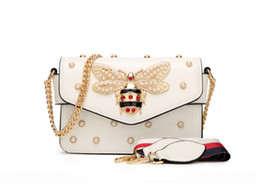Wholesale Girls Side Bags - 2018 New G2Z Brand Design Fashion Single Shoulder Oblique Cross Portable Small Side Bag Chain Bee Pearl Bump Girl Bag