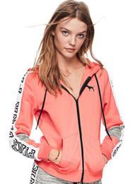 Wholesale Ladies Long Coats - Love Pink Letter women Hoodie Coat Girls Ladies Long Sleeve Hooded Jacket Sweatshirts Letter Printed Fashion Pullover Tops Free DHL