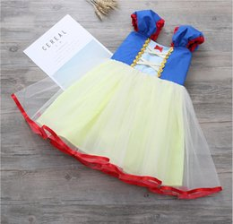 Wholesale Hot Fishnet Dresses - Hot American animation movie Snow White cosplay dress for little girl 90-130cm tall performance stage wear Children's Day dress wholesale