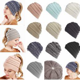 Wholesale female beanies - 10 Colors Women wool Ponytail Beanie Hats Crochet Winter Knitted Skullies Warm Caps Female Knit Messy Bun Hats AAA698