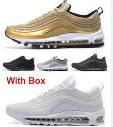Wholesale 3m Shoes Laces - 97 OG Tripel White Metallic Gold Silver Bullet Best quality WHITE 3M Premium Running Shoes with Box Men Women Free shipping