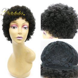 Wholesale Short Afro Curl Wig - Nadula Short Cut Kinky Curly Afro Curl Wig Human Remy Hair Full Wigs For Black Women Natural Hairline Glueless Capless Wigs Cheap