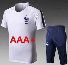 Wholesale Track Suit Pants Men - 2018 france short sleeve tracksuit 3 4 pants football jersey equipment white Equipe de france kits track suit