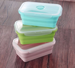 Wholesale Wholesale Camping Food - Foldable Silicone Lunch Box Food Storage Containers Household Food Fruits Holder Camping Road Trip Portable Microwave Oven Bento Box wen5443