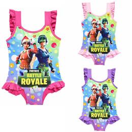 Wholesale red large bikini - 3 colors Game Fortnite printing children Swimwear 2018 summer One-Pieces baby girls Cosplay Swimsuit cartoon Bikinis MMA356 60pcs