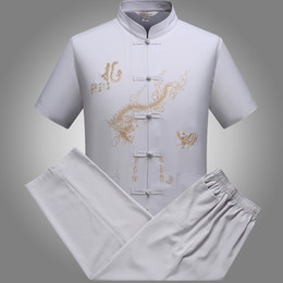 1 conjunto de venda a retalho china artes marciais tang terno dragão bordado tai chi panos para o homem treinamento wushu de