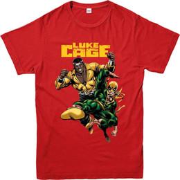 Dessus de fer en Ligne-T-shirt Luke Cage, T-shirt Iron Fist, T-shirt au design inspiré (LCIF), manches courtes décontracté pour hommes, vêtements d'été