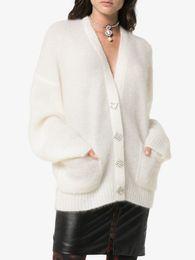 Cardigan maglione mohair online-Maglioni di cardigan allentati della lana delle donne del progettista di marca 2018 Modo di inverno di autunno via alta V Neck Mohair maglioni lavorati a maglia casuali dei cappotti dei maglioni
