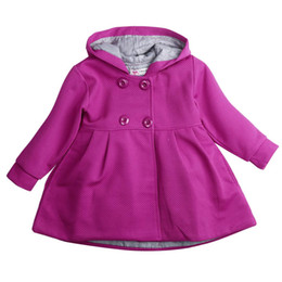 Осенние девушки розовые куртки онлайн-Autumn Winter 2017 Baby Girl Toddler Warm Fleece Winter Double-breasted Snow Jacket Suit Clothes Pink Red