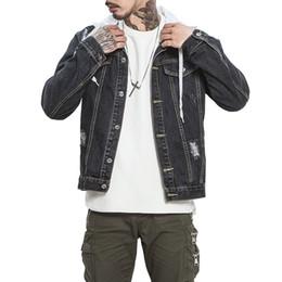 2019 cool jeans Mens Jeans Chaqueta con capucha negra Chaquetas de mezclilla Hip Pop Streetwear Cool Coat con hombre talla grande M-5XL Chaqueta bombardera para hombres masculinos rebajas cool jeans