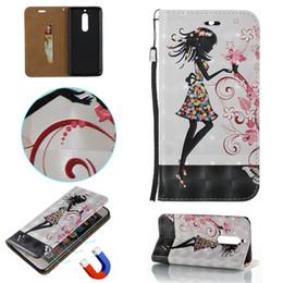 Wholesale 3d relief malerei leder karte tasche flip telefon case für nokia sexy girl feder löwenzahn poker flip brieftasche abdeckung