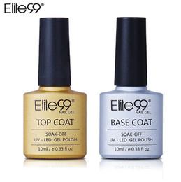 Capa superior de gel uv transparente online-Elite99 UV Gel Top Coat Base Coat Gel 10ML Para Gel de uñas Base de esmalte Base de manicura transparente transparente Conjunto de barniz de uñas